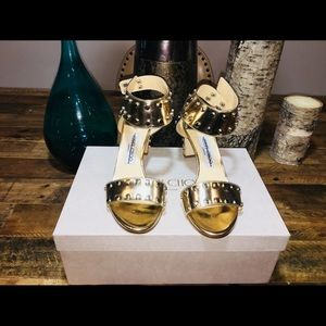 NWT Gold Jimmy Choo Veto Sandals Orig$895